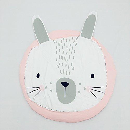 (Diameter:38 inches) Circle,Round Cute Baby Play Mat, Adventure Carpet,Crawling Mat, Children's Room Decoration (Rabbit)