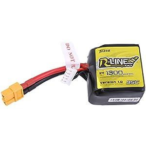 Tattu R-Line 14.8V 95C 1300mAh LiPo Battery Square Pack 4S with XT60 Plug Best for FPV Racing