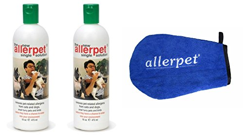 Allerpet Single Solution (Allerpet Single Solution 16 fl oz Bottle Dander Remover for Pets (2 Pack) - Relieves Allergies - Bonus Mitt to Easily Apply Solution to Your Pet)
