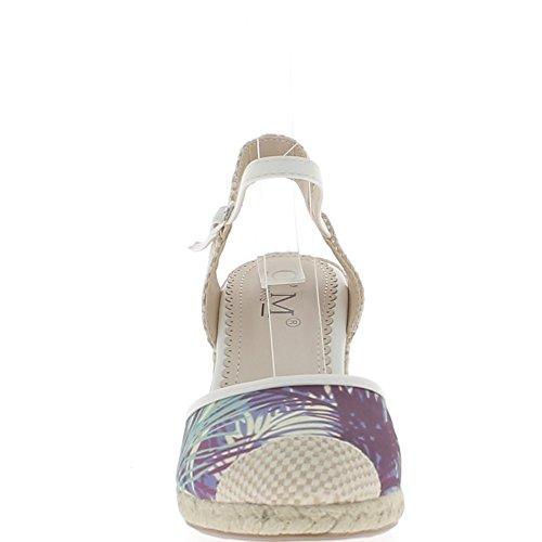 Mujer offset azul zapatillas lona de 10cm de tacón de color
