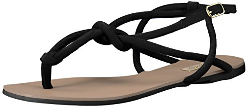 Qupid Women's Archer-309 Flat Sandal, Black, 7 M US