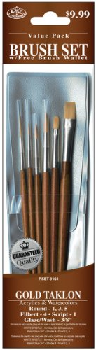 - Brush Set Value Pack Gold Taklon - 6 Ct Computers, Electronics, Office Supplies, Computing