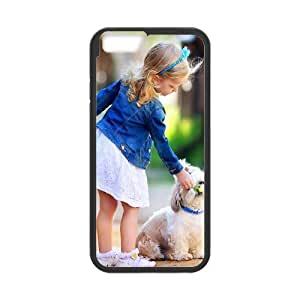 Tyquin Little Girl and Puppy Case for IPhone 6 Plus, with Black