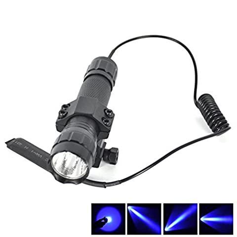 1 Set (1-Pcs) Impressive Fashionable 600 LM Blue LED Flashlight Police Lights Shock Resistant Tactical Lamp Coated Glass Lens Aluminum Alloy Color Black with Mount and Remote Switch