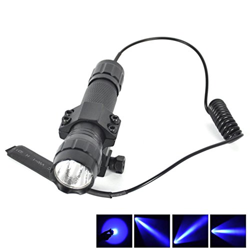 1 Set 1-Pcs Impressive Fashionable 600 LM Blue LED Flashlight Police Lights Shock Resistant Tactical Lamp Coated Glass Lens Aluminum Alloy Color Black with Mount and Remote Switch