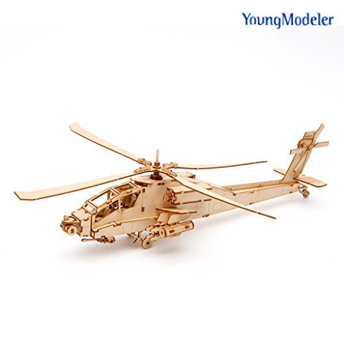 [YOUNGMODELER] Wooden Model Kit AH-64 Apache Helicopter