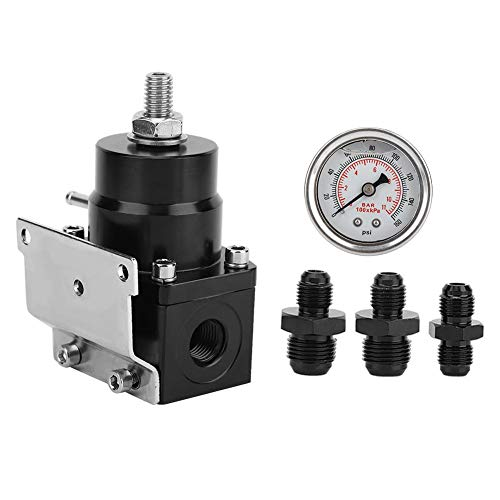 Gorgeri High Performance Car Fuel Pressure Regulator 8AN 8/8/6 Pressure Regulator With Pressure Gage: