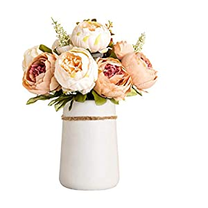 Queen Bee Decor Artificial Silk Peony Flower Bouquet with Ceramic Vase Indoor/Outdoor Centerpiece Events Weddings Birthday Gift Bridal Floral Flower Arrangement (Champagne)