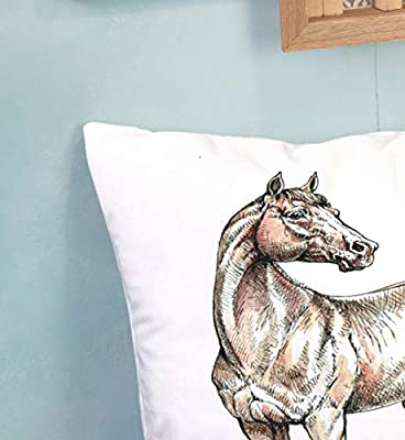 Shorping Decorative Pillow Covers Zippered Covers Pillowcases 16X16Inch Throw Pillow Covers Brown Horse Ink and Watercolor Drawing for Home Sofa Bedding