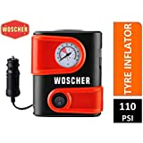 Woscher 1610 12V DC Portable Mini Tyre Inflator (Black)