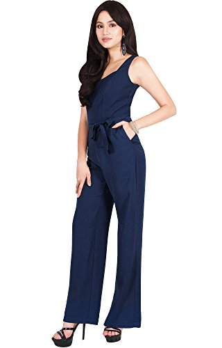 Viris Zamara Womens Long Sleeveless V-Neck Slimming Pockets Tank Top Belt Spring Summer Casual Party Outfit Dressy Romper Pant Suit Suits Playsuit Jumpsuit Jumpsuits, Blue L 12-14 by Viris Zamara