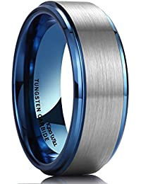 King Will DUO 8mm Blue Tungsten Carbide Wedding Band Ring Brushed Center Polish Finished Comfort Fit
