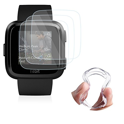 Ultra Slim Soft Full Cover Case for Fitbit Versa, TPU Case for Fitbit Versa Smart Watch, 3 Pack 0.2mm 9H Anti-Bubble Tempered Glass Film (1pcs Watch Case with 3pcs Tempered Film)