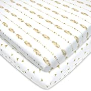 American Baby Company 2 Piece Printed 100% Cotton Jersey Knit Fitted Portable/Mini-Crib Sheet, Taupe Feather and Triangles