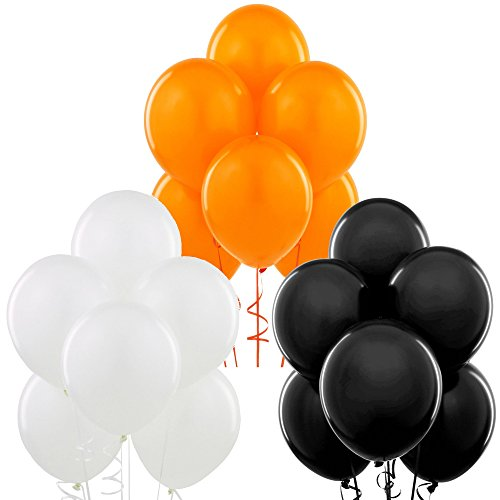 Black, Orange, White 12 Inch Thickened Latex Balloons, Pack of 72, Premium Helium Quality for Wedding Bridal Baby Shower Birthday Party Decorations Supplies Ballon Baloon Thinken
