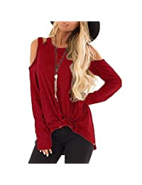 FarJing Women Top Cold Shoulder Side Twist Knotted Strappy T-Shirt Tops Blouse