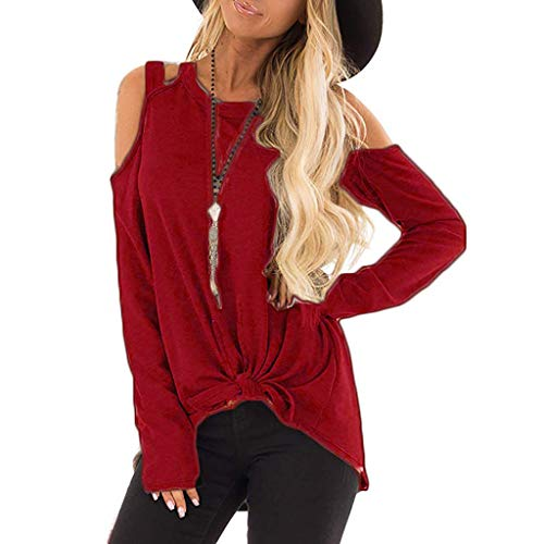 Xinantime Women Sexy Cold Shoulder Blouse Top Autumn Knotted Strappy T Shirt Long Sleeve Sweatshirt Coat
