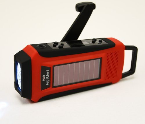 Self Powered Flashlight Adapter - topAlert HY-016 LCD Emergency Survival Solar Hand Crank Self Powered AM/FM/WB(NOAA) Digital Radio, Flashlight, Smartphone Charger with Adaptors & Cables