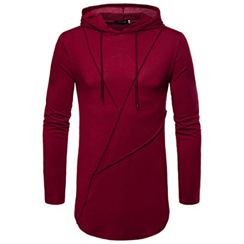 Men's Autumn Pure Color Joint Long Sleeved Hoodie Sweatshirts Top Blouse by Dacawin
