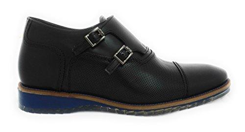 Zerimar Chaussures Réhaussantes Intérieur Pour Messieurs Augmentation + 7 CM Falcon Noir Cuir, Respirant, Confortable