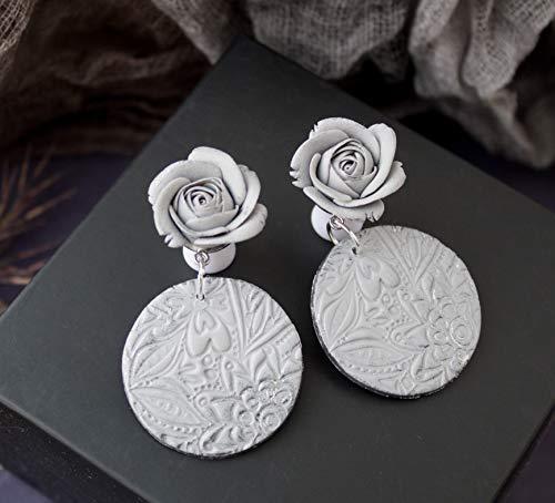 (Dangle gauge earrings Gray rose round long ear plugs lightweight taper hangers piercing tunnel Handmade unique statement large flower floral elegant everyday wearing 0g 00g 2g 14mm 16mm 18mm 20mm)