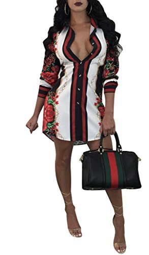 Remelon Womens Chain Stars Print Button Down Collar Long Shirt Dress Blouse Mini Dress Black Medium