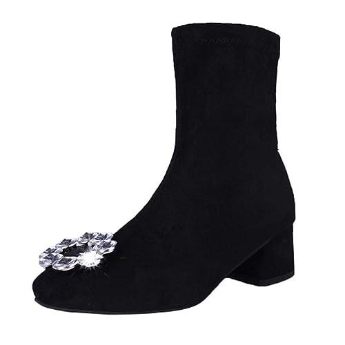 YSFU Botas Botines De Mujer Zapatos De Tacón con Punta Redonda Enjoyada Damas De Botín Casual