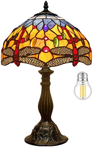Tiffany Lamp LED Bulb Included Orange Blue Stained Glass Crystal Bead Dragonfly Style Table Reading Light W12H18 Inch S168 WERFACTORY LAMPS Parents Lover Friend Kids Living Room Bedroom Bedside Desk