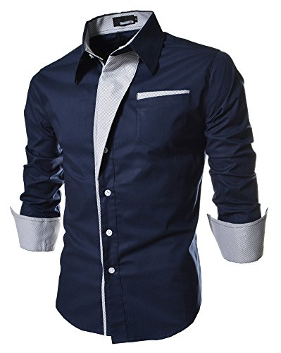 Navy formal business casual dress shirts button down for Business shirts for men