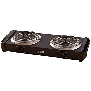 IMUSA USA GAU 80306 Electric Double Burner 1500 Watts , Black