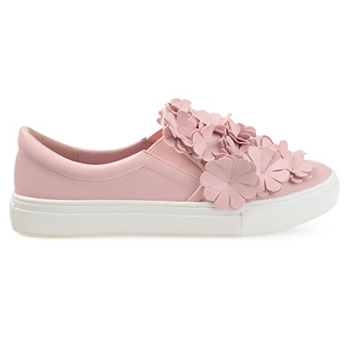 Brinley Co Womens In Similpelle A Cascata 3d Fiori Slip-on Sneakers Rosa