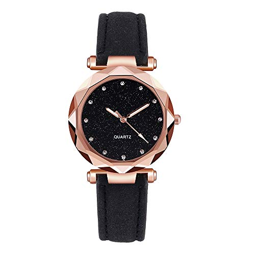 AMOUSTORE Women's Watches Rhinestone Quartz Watch PU Leather Strap Wristwatch