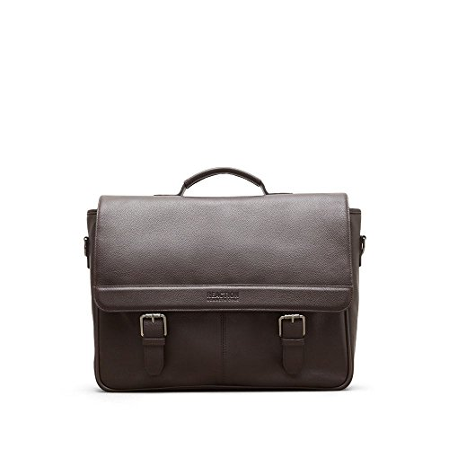 "Kenneth Cole Reaction Leather Slim Double Compartment Top Zip 15.0"" Computer Business Case Laptop Briefcase, Brown, One (Kenneth Cole Top Zip Shoulder Bag)"