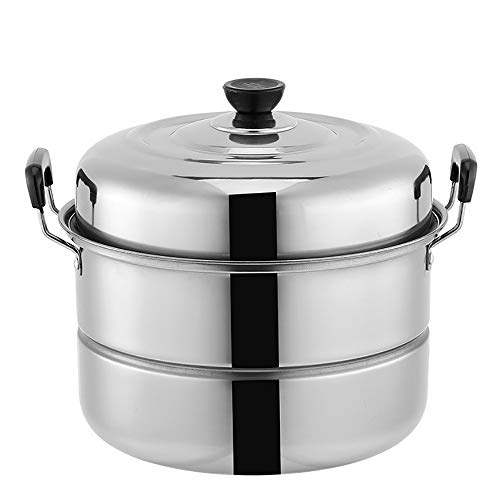 - Stainless Steel Steamer Pot 2 Layer Thicken Uncoated Single Bottom Steamers For Cooking Household Induction Cooker Universal-Steamer With Lid-28cm