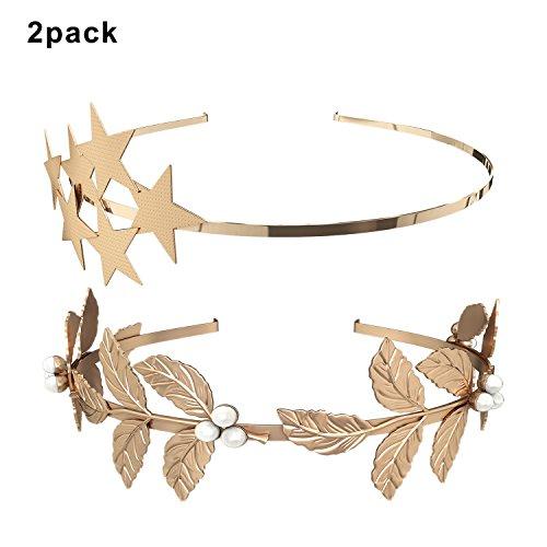 (2 Pack) Roman Goddess Leaf and Star Branch Dainty Bridal Hair Crown (Goddess Crown)
