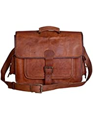 Universal Leather Vintage Handmade Leather Messenger Bag 16X13X5 Inches Brown
