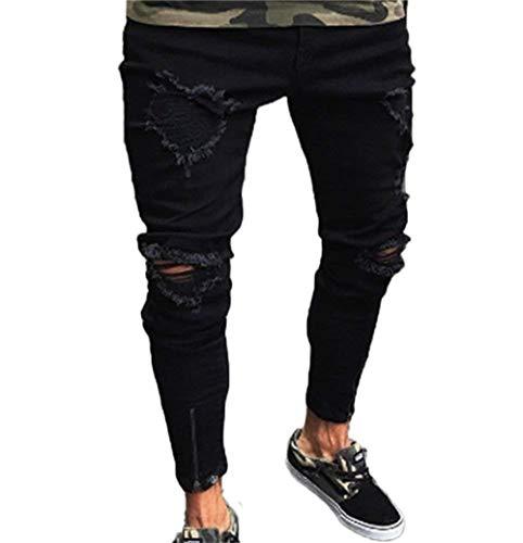 Fit Nero Jeans nero Giovane Denim Abraised Biker Elastica Skinny Fibbia Uomo Slim Strappato Da Uwqx6SR