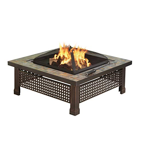 (Pleasant Hearth Bradford Square Natural Slate 34-Inch Fire Pit with Copper Accents (Renewed))
