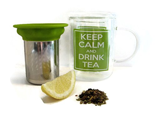 Best Glass Tea Mug with Stainless Steel Tea Infuser - Loose Leaf Tea Infuser Mug - Tea Strainer - Tea Steeper -