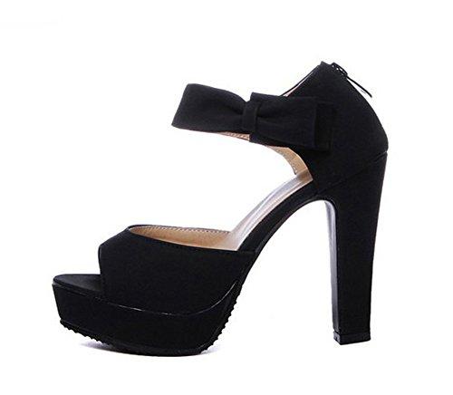 Bout Nœud Sandales Femme Aisun Noir Papillon Mode Ouvert fPwSnFqRx