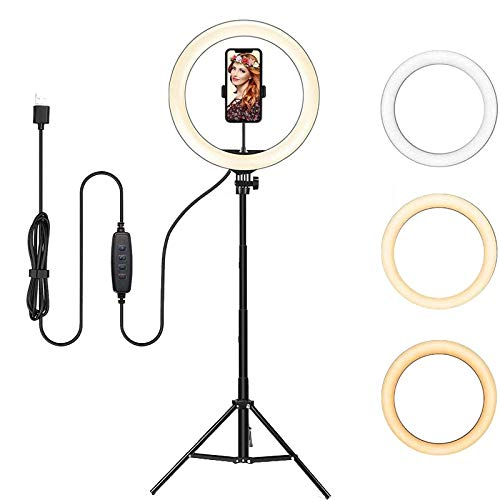 ITRUE 12-inch Camera LED Ring Light with Tripod Stand and Double Phone Holders Compatible with All Smartphones for Streaming, Makeup, Selfie Photography