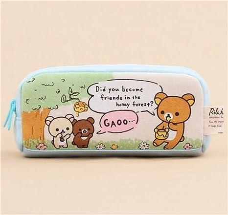 Neceser estuche lápices azul árbol miel oso Rilakkuma doble ...