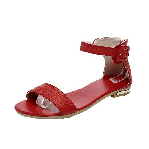 AalarDom Mujer Hebilla Puntera Abierta Mini Tacón Pu Sólido Sandalias de vestir Rojo