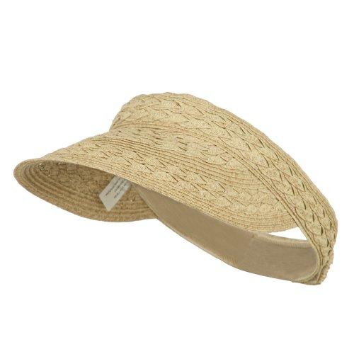 Braid Xl Brim Hat - Jeanne Simmons Toyo UPF 50+ Braided Designed Visor - Tan Tweed OSFM