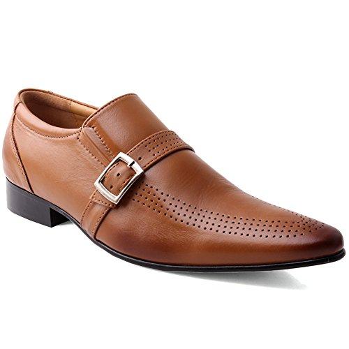 Unze Meag' Hombres Cuero formales negocios oficina ponerse zapatos Bronceado