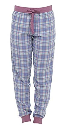 Pantaloni di pigiama lunghi, in cotone, da donna, a quadri, a tinta unica.