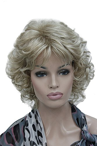 Kalyss Short Full Curly Premium Synthetic Hair Wig For Women Mix Blonde Color