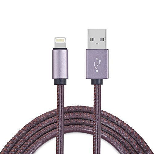 Lightning Cable Aisbr Iphone Usb Fas Data Sync Transmission 3 3Ft Pu Leather 2A Current Quick Charge Powerline For Iphone7 7Puls 6S 5C Pad Air  Pro Ipod Touch  Brown
