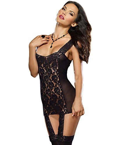 Dreamgirl 144 Women's Mesh And Lace Gartered Dress With Stockings - One Size - Black (Gartered Stockings)