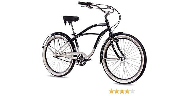 CHRISSON 26 Pulgadas Aluminio showbike Hombre Bicicleta Sando con 3 Marchas Shimano Nexus Blanco Negro: Amazon.es: Deportes y aire libre